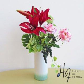 高級アートフラワーアレンジメント【ミラク】新作花器に、モダン和スタイルを。高さ50センチのアートフラワーアレンジメントです。