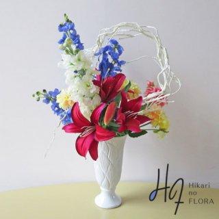 高級アートフラワーアレンジメント【エブリン】艶やかな高級造花アレンジメントです。