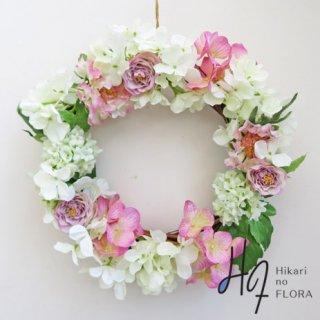 光触媒アートフラワーリース・壁掛け【ハイドレンジア】花言葉は、家族愛。