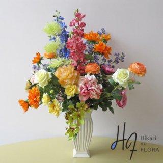 高級造花アレンジメント【ディアナ】オレンジ色をうまく使って、他にはない個性的なアレンジメントに。