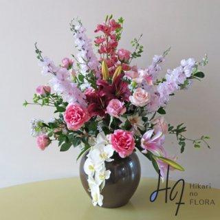 高級造花インテリア【フーア】九谷焼産地サビ釉薬花生に、アーティフィシャルフラワーをアレンジ。