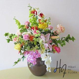 高級造花インテリア【ラビン】九谷焼産地サビ釉薬花生に、アーティフィシャルフラワーをアレンジ。
