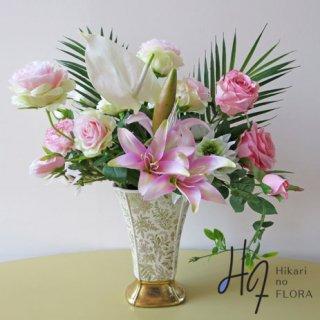 高級造花アレンジメント【レティシア】ピンクが素敵な高級造花アレンジメントです。