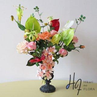 高級造花インテリア【シャーンプル】アンスリウムを入れた高級造花アレンジメントです。