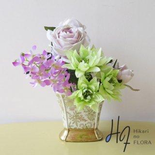 高級造花インテリア【アシュテ】小さなアレンジメントですが、エレガントさを感じさせてくれます。