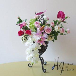 光触媒造花アレンジメント【エレクトラ】リアルな胡蝶蘭とアートなアンスリウムの高級造花のスタンドです。