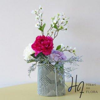 高級造花アレンジメント【プロピオ】豪華なピオニーとハイドレンジアの洒落た和風花器の高級造花アレンジメントです。