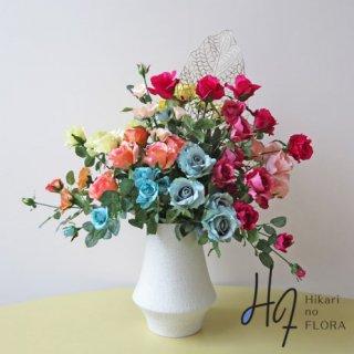 高級造花アレンジメント【レラシオン】アートに。色彩にこだわった高級造花アレンジメントです。