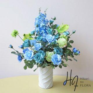 高級造花アレンジメント【ソート】ブルーローズでオシャレな高級造花アレンジメントを。花言葉は「夢を叶える」。