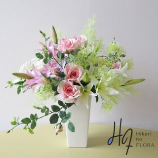 高級造花インテリア【モド】スモークグラスを使ってみました。柔らかさと清新さが出たようです。