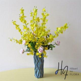 高級造花アレンジメント【オンシジューム】オンシジュームのイエローが、良運を招くって。