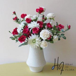 高級造花アレンジメント【トルソー】ダリアとローズのエレガントなアレンジメントです。