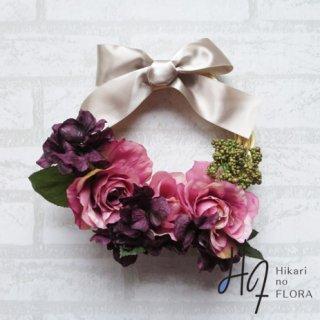 光触媒加工・壁掛けリース【wreath256】大きな高級リボンも素敵なバラのリースです。wreath(リース)は永遠と愛の象徴です。