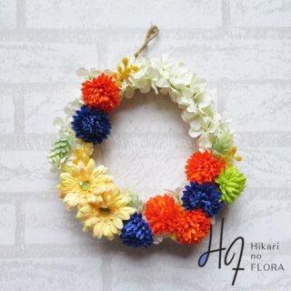 光触媒加工・壁掛けリース【wreath257】可愛いマムとガーベラのリースです。wreath(リース)は永遠と愛の象徴です。