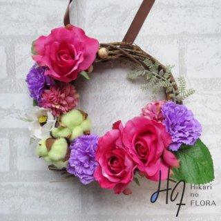 光触媒加工・壁掛けリース【wreath282】コットンも加わったおちゃめなリースです。wreath(リース)は永遠と健康と愛情の象徴です。