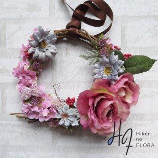 光触媒加工・壁掛けリース【wreath284】バラとガーベラのリースです。wreath(リース)は永遠と健康と愛情の象徴です。