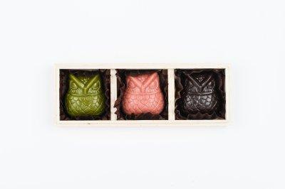 <バレンタイン限定>:OWL CHOCOLATE GIFT BOX SET (3per 1set with special wood box):梟 ローチョコレート 3個入ギフトセット(木箱入り)