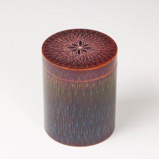 彩色菊毛彫筒形 縞柿(内拭漆) 関翠雲作