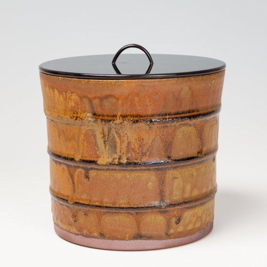 高取焼 漆桶型 水指 �取静山作