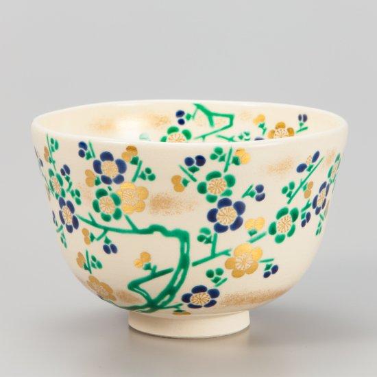 色絵古清水梅画 茶碗 相模竜泉作