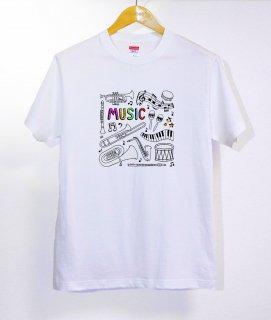 No.246 Music ※半袖/長袖 在庫あり(ロンT/カットソー/イラスト/楽器/音符/可愛い/ポップ)