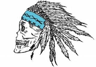 No.599 cranio※半袖/長袖 在庫あり(ロンT/カットソー/イラスト/骸骨/スカル/顔/ブルー/青/クール)