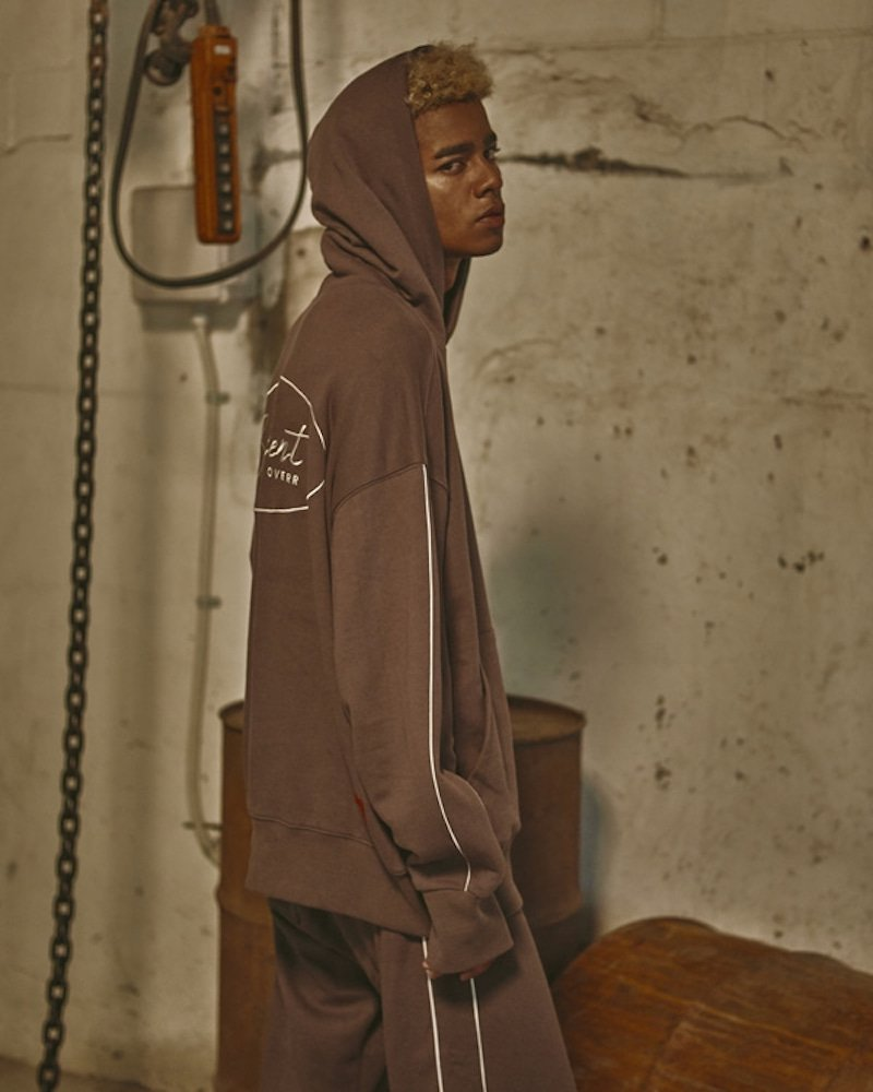 オーバーサイズ&ストリート『Re:one Online Store』「OVERR」CIRCLE BS KHAKI PIPING HOODIE