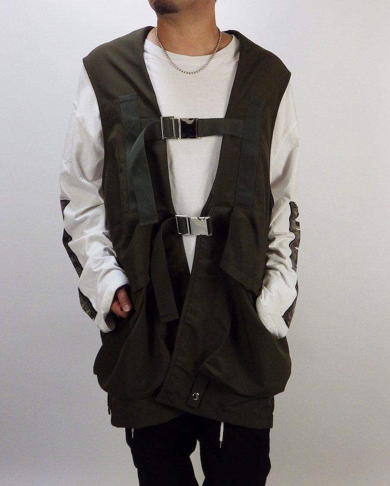 オーバーサイズ&ストリート『Re:one Online Store』Long military khaki vest