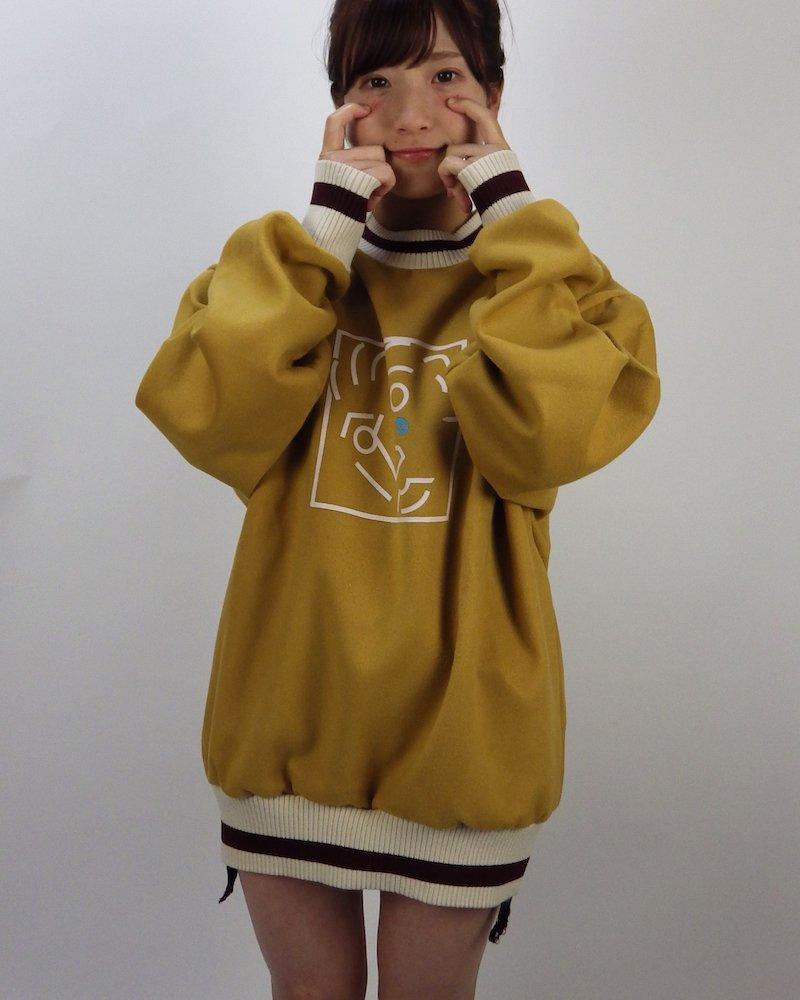 オーバーサイズ&ストリート『Re:one Online Store』Crying face L/S KNIT-YELLOW-