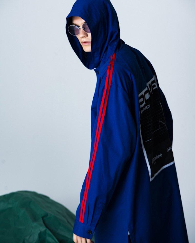 オーバーサイズ&ストリート『Re:one Online Store』「PARADOX」HOODED SHIRTS -BLUE-