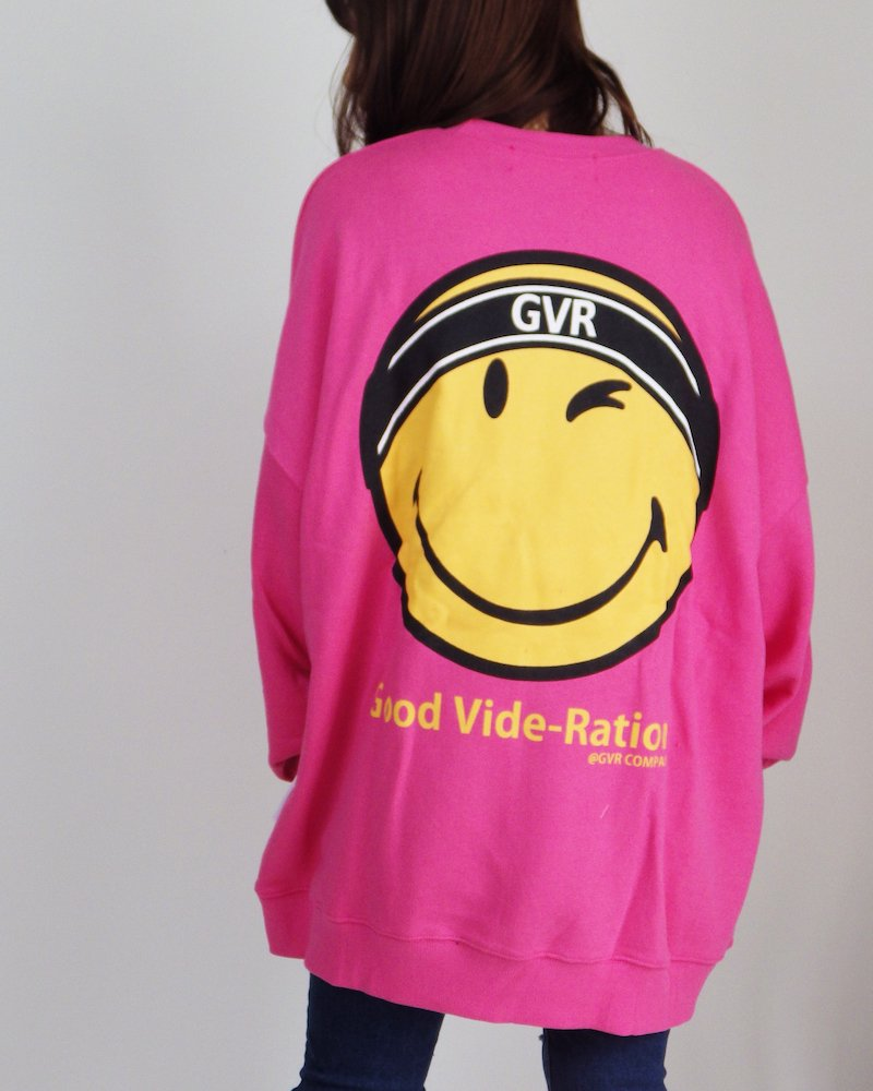 オーバーサイズ&ストリート『Re:one Online Store』SMILEY L/S SWEATSHIRT-PINK-