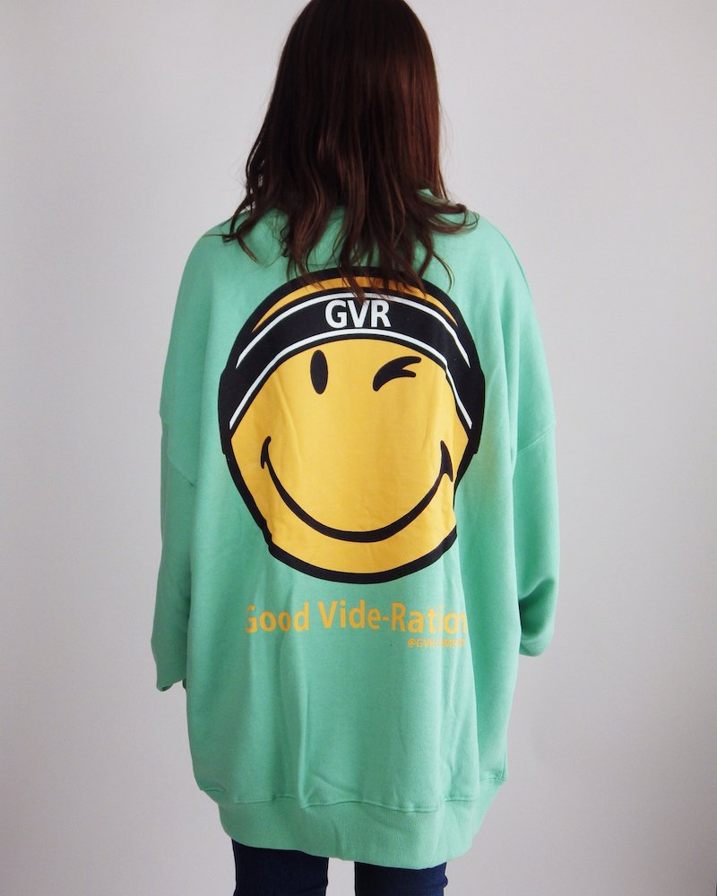 オーバーサイズ&ストリート『Re:one Online Store』SMILEY L/S SWEATSHIRT-GREEN-