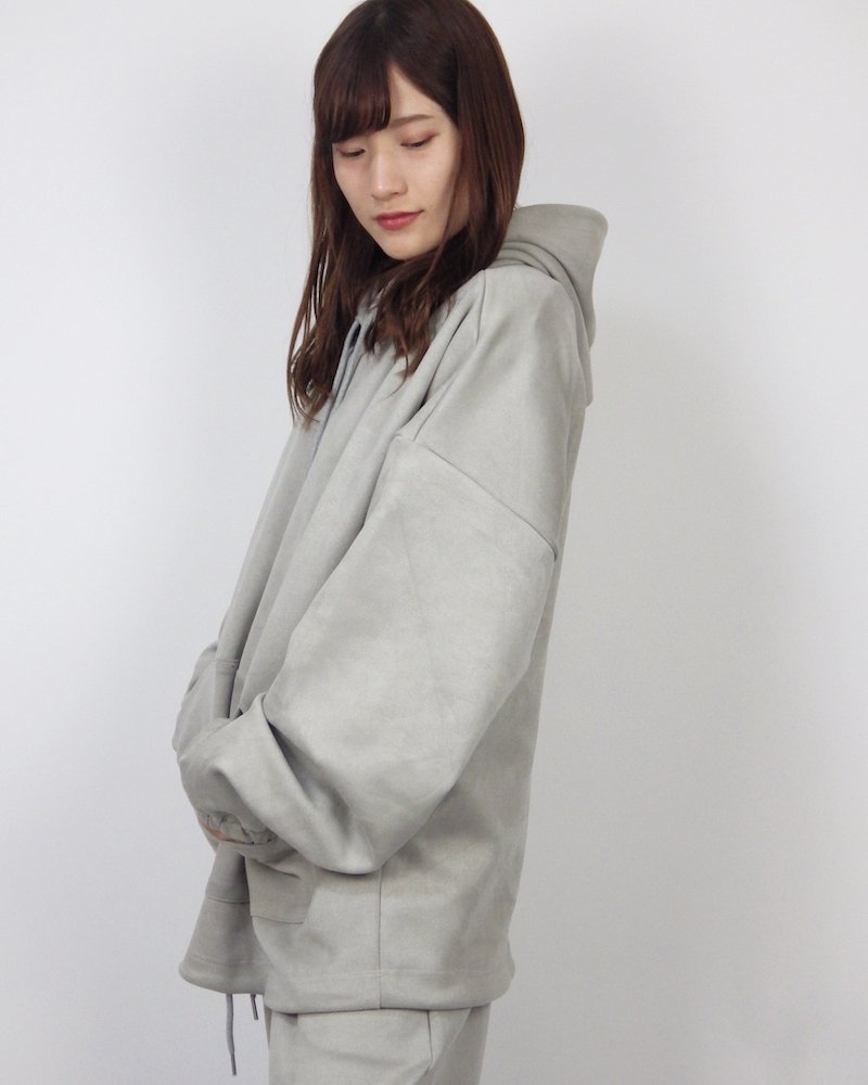 オーバーサイズ&ストリート『Re:one Online Store』SUEDE HOODIE -GRAY-