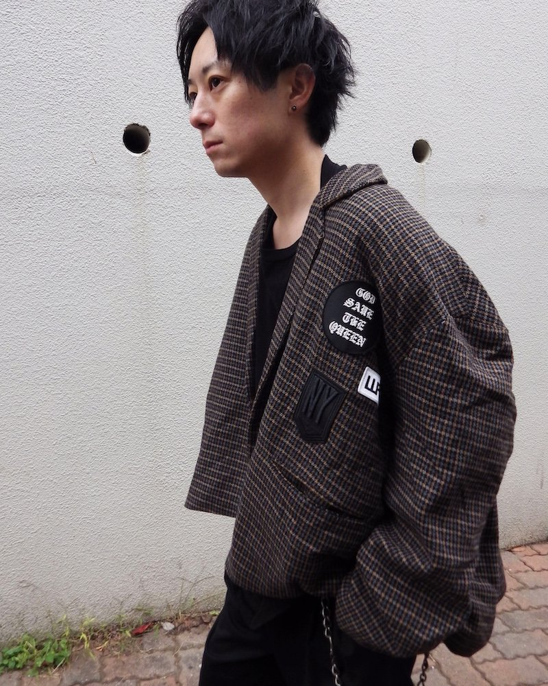 オーバーサイズ&ストリート『Re:one Online Store』「D.N.A」Check poncho jacket