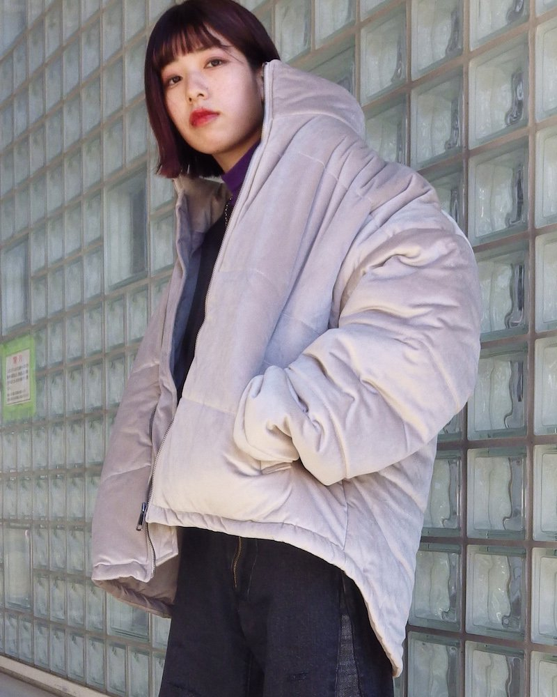 オーバーサイズ&ストリート『Re:one Online Store』「NINE NUTS」SUEDE DOWN JACKET -GRAY-