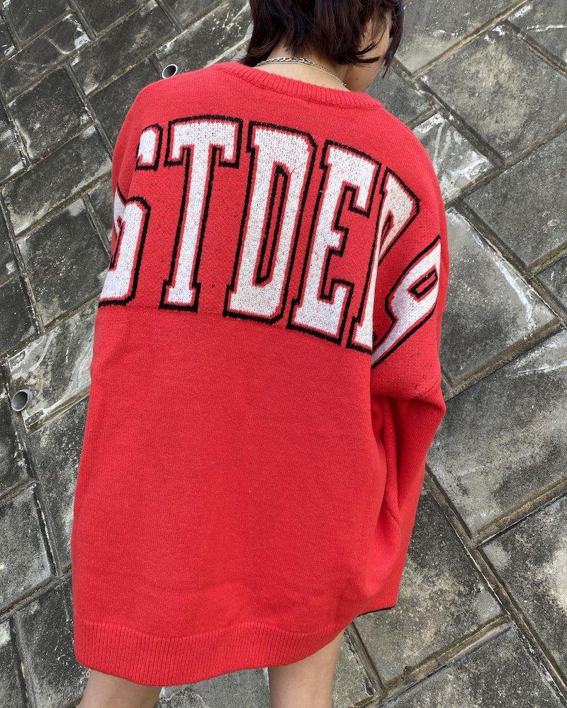 オーバーサイズ&ストリート『Re:one Online Store』「EDDEN」BACK STDED PRINT RED KNIT