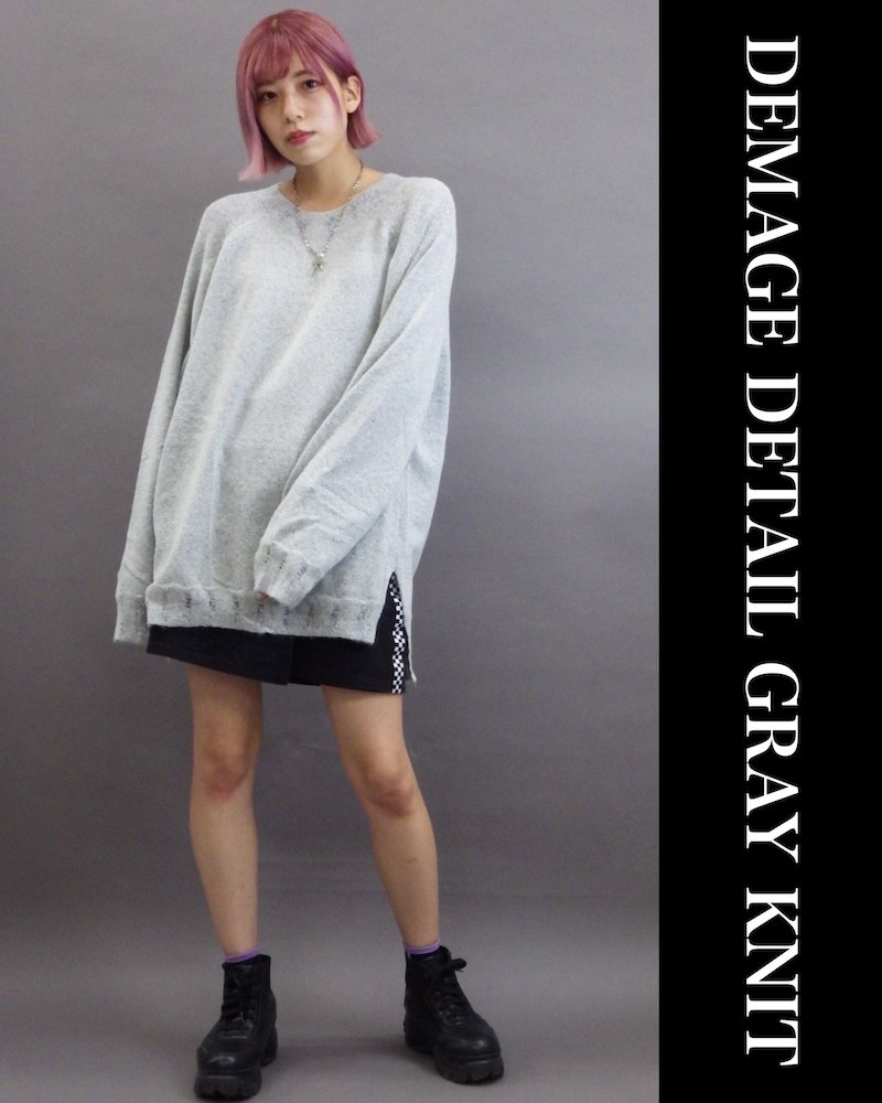 「OVERR」DEMAGE DETAIL GRAY KNIT コーデイメージ(1)