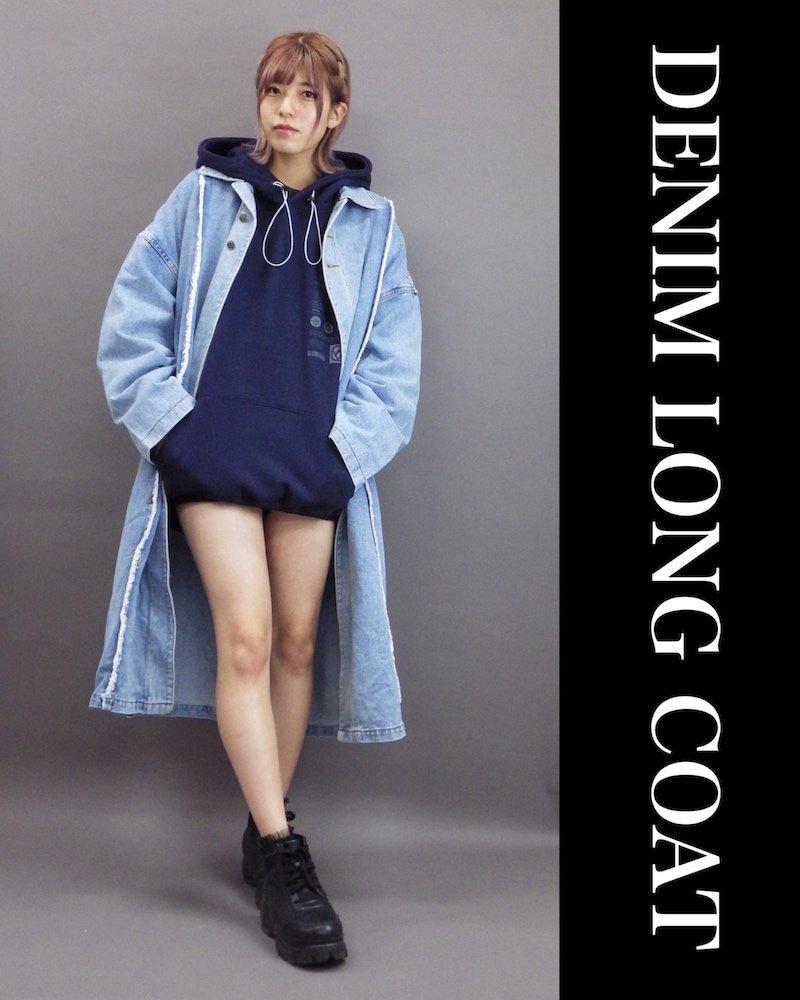 「OVERR」DENIM LONG COAT コーデイメージ(1)