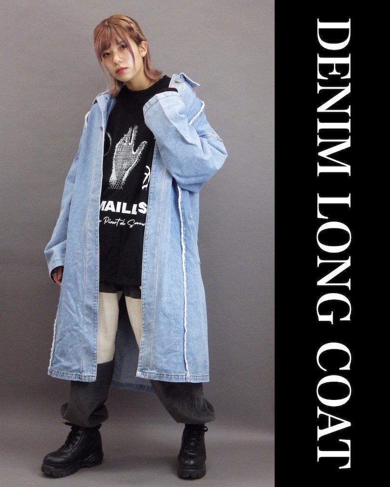 「OVERR」DENIM LONG COAT コーデイメージ(2)