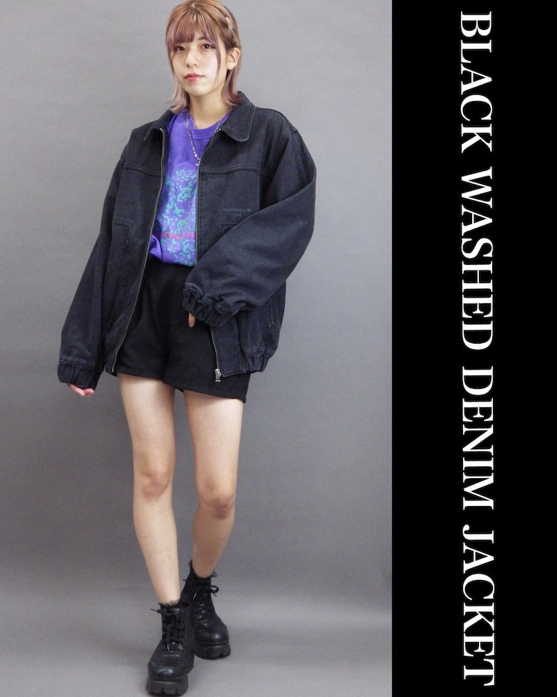 「OVERR」BLACK WASHED DENIM JACKET コーデイメージ(2)