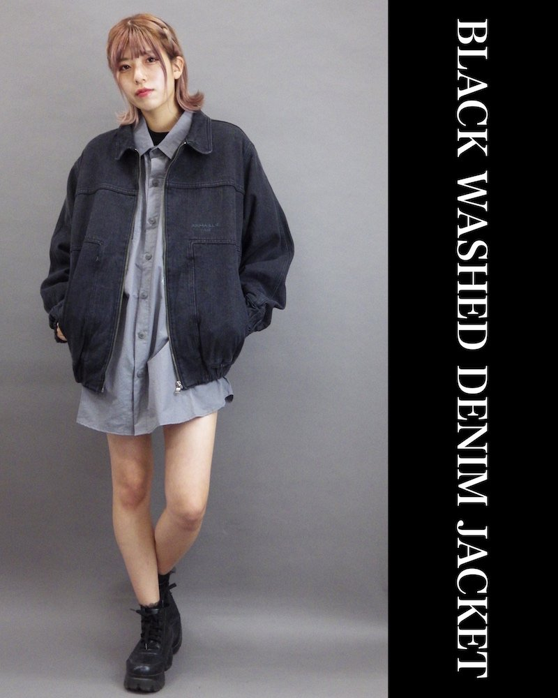 「OVERR」BLACK WASHED DENIM JACKET コーデイメージ(3)