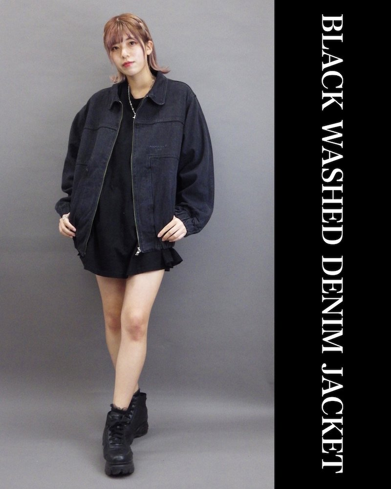 「OVERR」BLACK WASHED DENIM JACKET コーデイメージ(5)