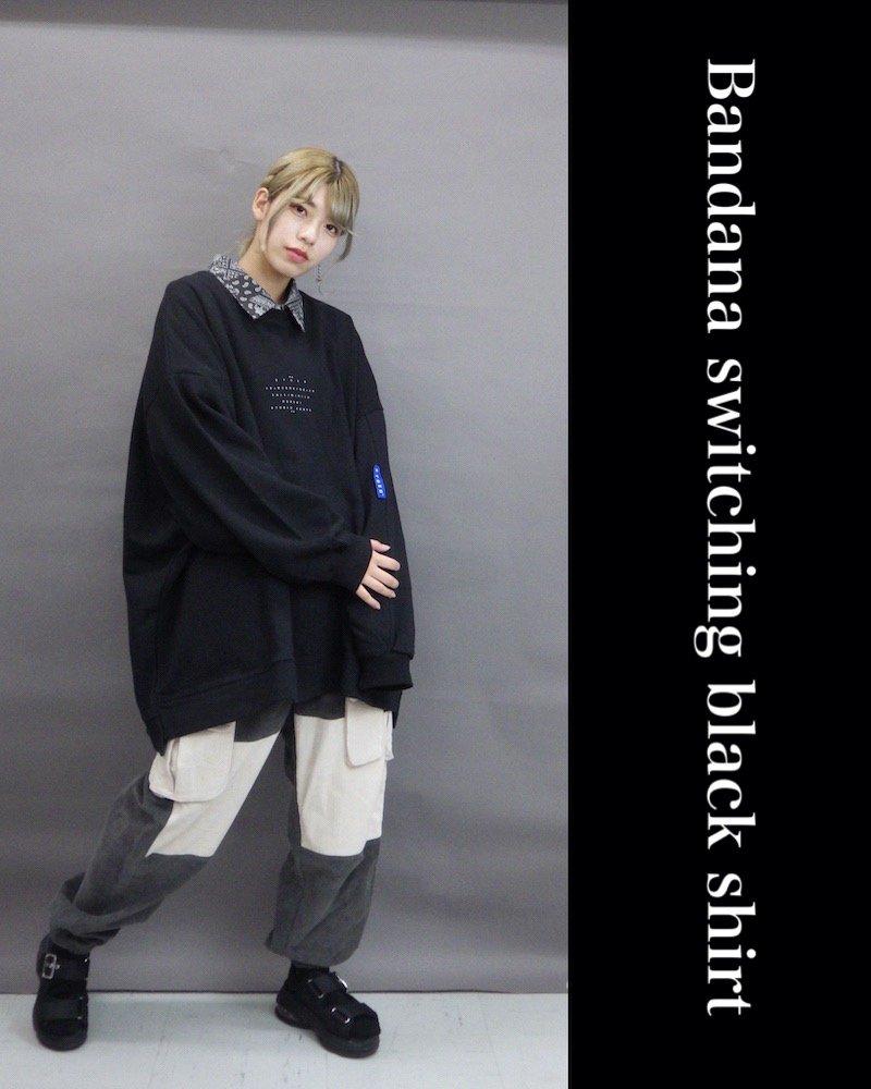 「NINE NUTS」Bandana switching black shirt / バンダナシャツ コーデイメージ(3)