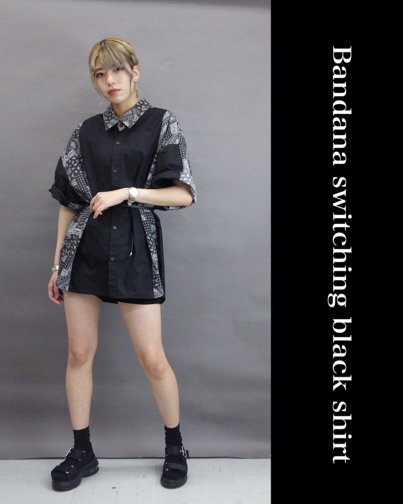「NINE NUTS」Bandana switching black shirt / バンダナシャツ コーデイメージ(5)