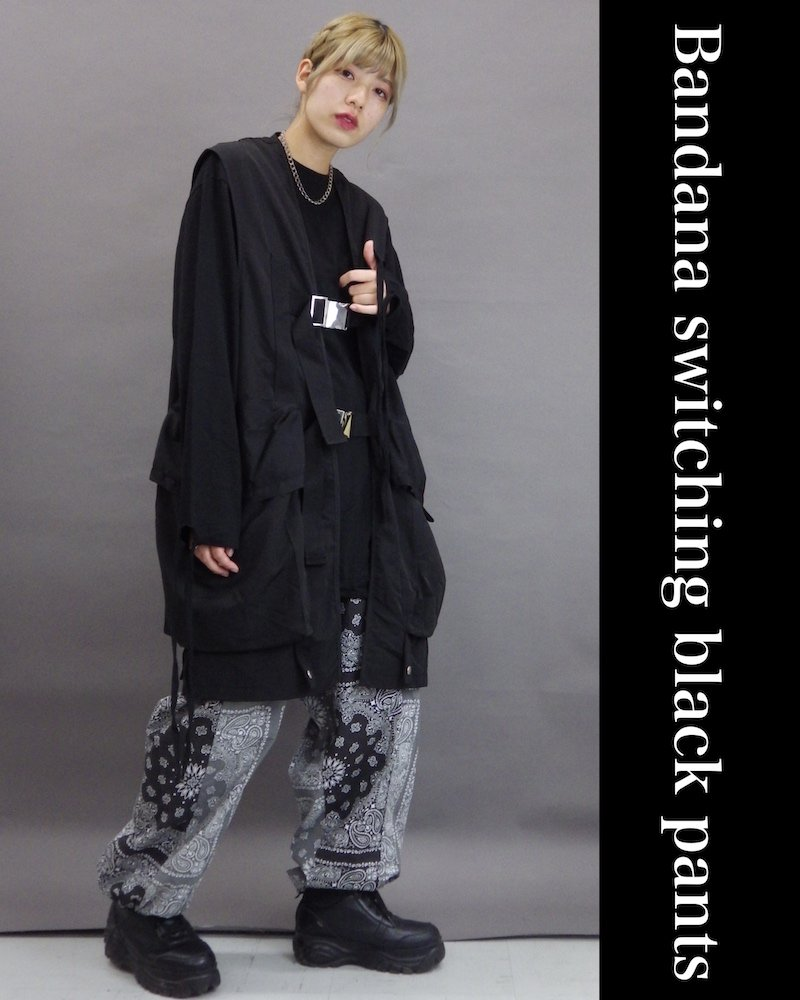 「NINE NUTS」Bandana switching black pants コーデイメージ(2)