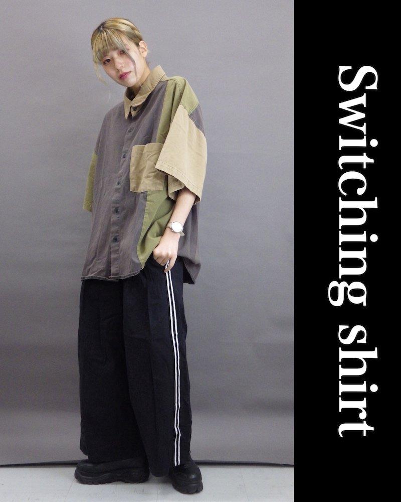「NINE NUTS」Switching gray shirt コーデイメージ(3)