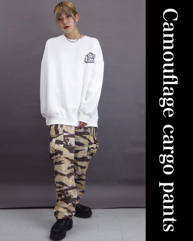 「NINE NUTS」Camouflage brown cargo pants コーデイメージ(4)