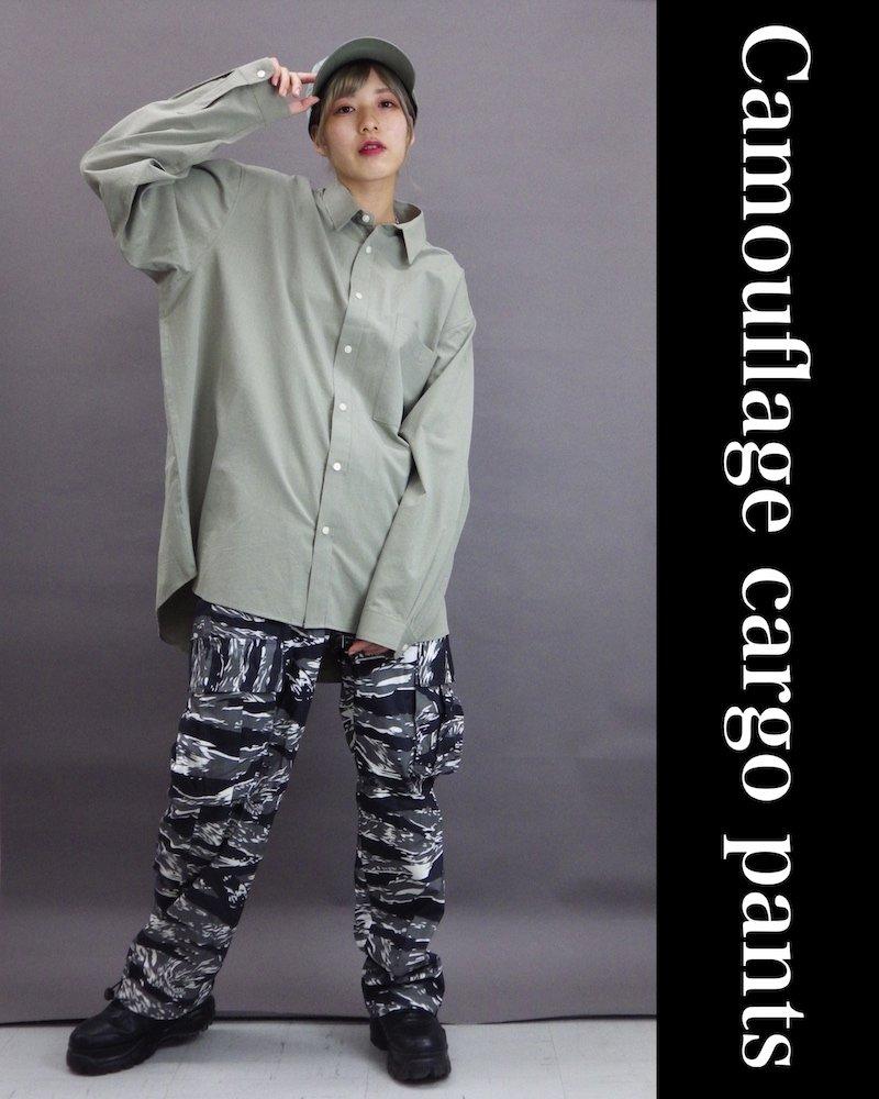 「NINE NUTS」Camouflage black cargo pants コーデイメージ(1)