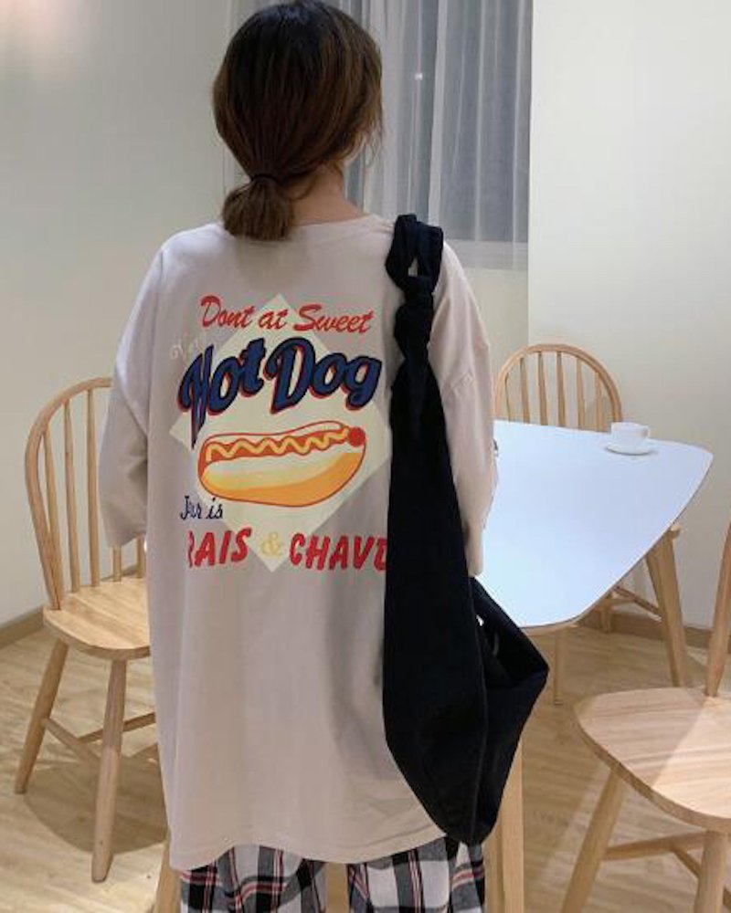 オーバーサイズ&ストリート『Re:one Online Store』「△VE U」HOT DOG BEIGE T-SHIRT