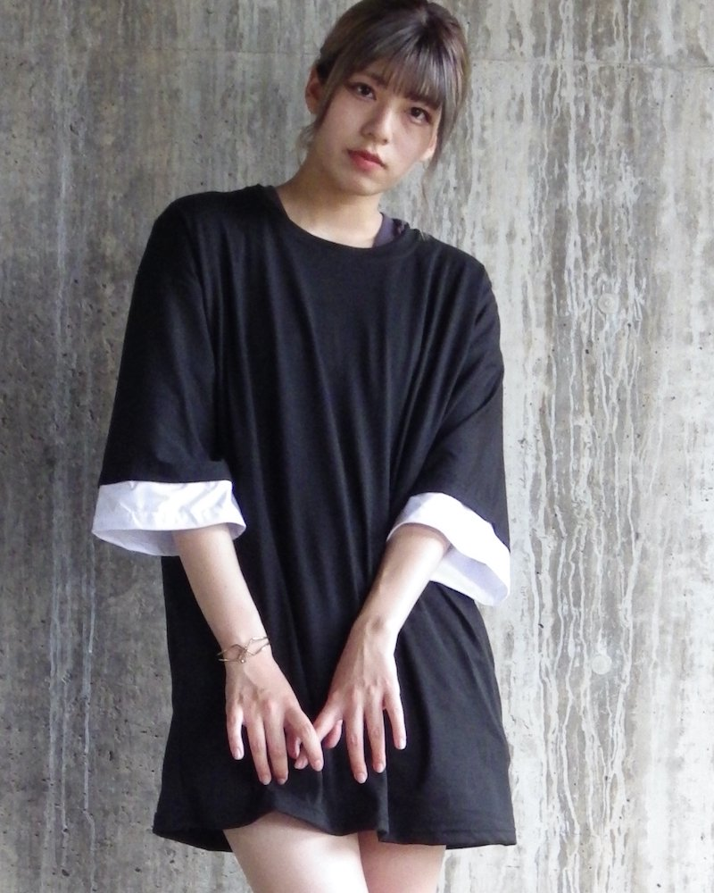 オーバーサイズ&ストリート『Re:one Online Store』「△VE U」Layered BLACK BigT-shirt